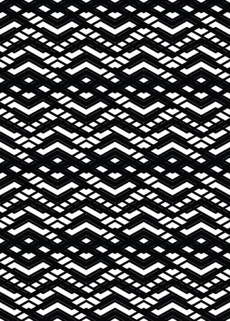 interweave: Monochrome geometric art seamless pattern, vector mosaic black and white interweave background. Symmetric illusive artificial backdrop. Illustration