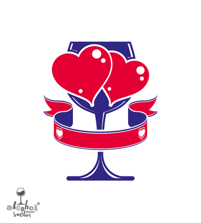 loving: Vector art illustration of wineglass with two loving hearts