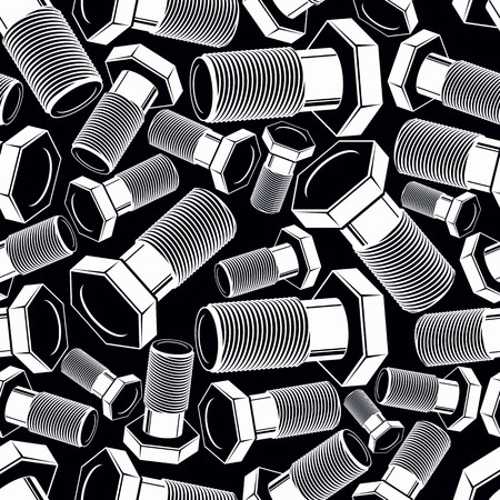 3d  bolt: Bolt 3d black and white vector seamless pattern.