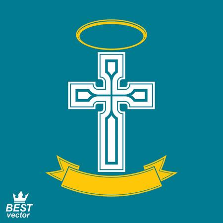devotional: Religious cross emblem with nimbus and decorative ribbon, spiritual idea symbol. Christianity icon, web design element.