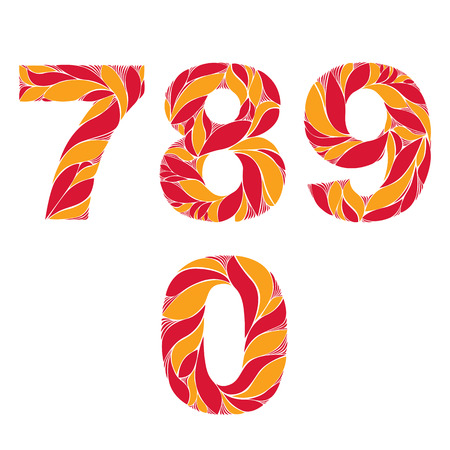 7 8: Red autumn style vector digits, numbers set with eco floral ornament. 7, 8, 9, 0.