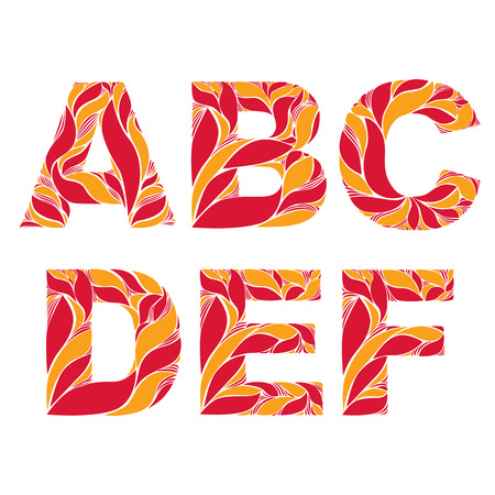 uppercase: Retro uppercase letters with herbal autumn seasonal ornament. Fiery font with floral pattern, A, B, C, D, E, F. Illustration