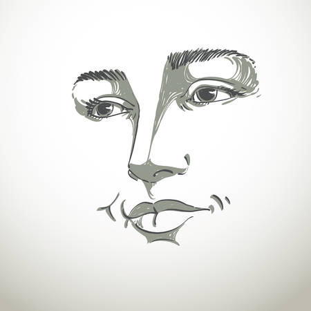 black woman face: Portrait of delicate good-looking dreamy still woman, black and white vector drawing. Emotional expressions idea image, face features. Illustration
