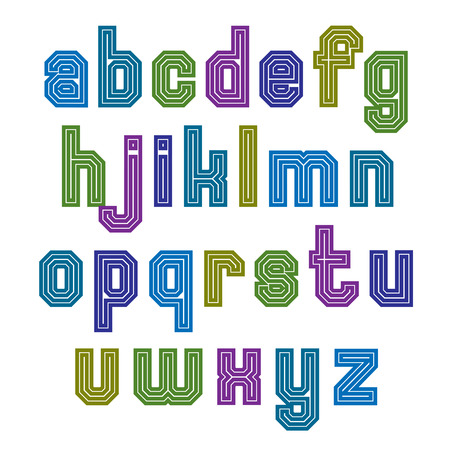 lowercase: Striped font, geometric bright typeface with parallel lines. Colorful regular lowercase letters.