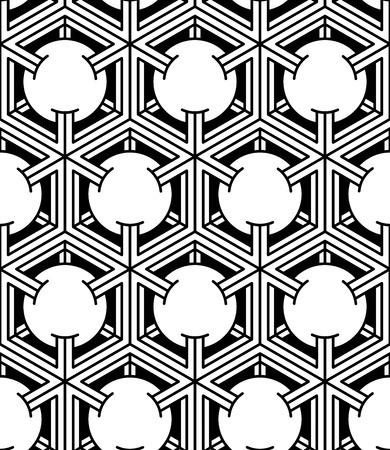 Endless monochrome symmetric pattern, graphic design. Geometric intertwine optical composition.