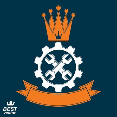 cog wheel: Manufacturing award idea illustration. Simple vector crossed spanners placed in an industry cog wheel. Graphic reparation tool with imperial crown and ribbon.