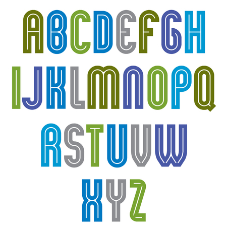 drop cap: Striped font, geometric bright typeface with parallel lines. Colorful rounded regular uppercase letters. Illustration