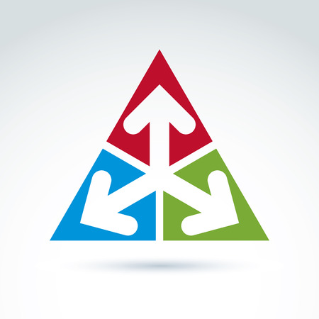 multidirectional: Vector abstract emblem with three multidirectional arrows placed in isosceles triangles – up, left, right. Conceptual corporate symbol, colorful pyramid icon.