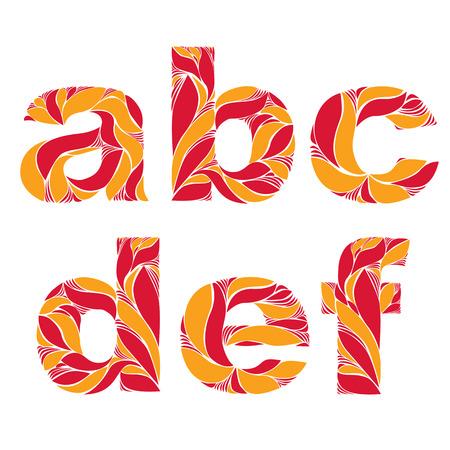 fiery font: Sch�ne Typoskript mit nat�rlichen Herbst Muster aus feurigen orange Bl�tter erstellt. Blumige alphabet, kalligraphischen Zierkleinbuchstaben. Illustration