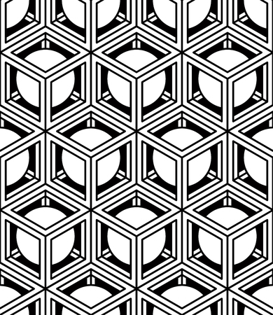 Black and white illusive abstract geometric seamless 3d pattern. Vector stylized infinite backdrop, best for graphic and web design.