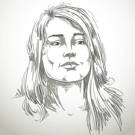 face expressions: Ilustraci�n de piel blanca atractiva dama rom�ntica dise�ada a mano gr�fico vectorial con un elegante corte de pelo. Las personas se enfrentan a expresiones, emociones y caracter�sticas visage.
