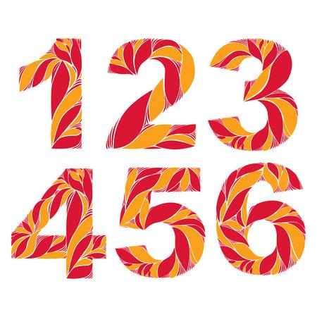 3 4: Vector numeration decorated with seasonal orange autumn leaves, 1, 2, 3, 4, 5, 6. Vintage ornamental numbers. Illustration