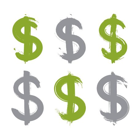 collection: Set of hand-painted green dollar icons