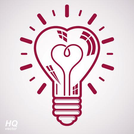 brain storm: Vector brain storm conceptual icon - corporate problem solution theme. Electricity light bulb symbol isolated on white background. Romantic idea design element.