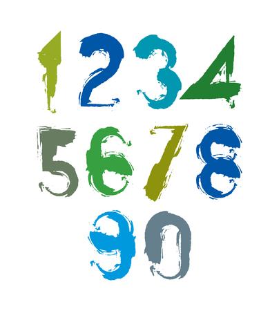 num�ros: Num�ros multicolores manuscrites, vecteur griffonnage chiffres bross�, ensemble de nombres avec des coups de pinceau peint � la main.