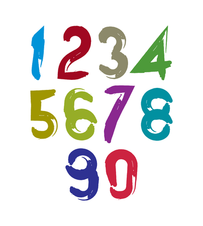 Colorful doodle brush numbers, hand-painted bright vector numeration.