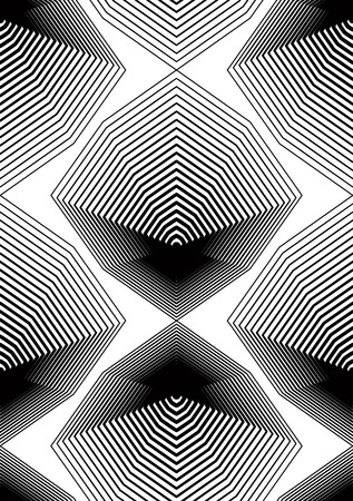 surface covering: Black and white illusive abstract seamless pattern with geometric figures. Vector symmetric simple backdrop. Illustration