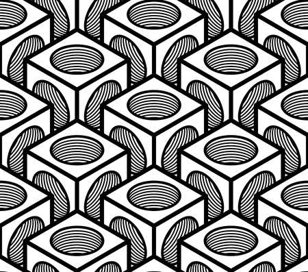 intertwine: Seamless optical ornamental pattern with three-dimensional geometric figures. Intertwine black and white composition. Illustration