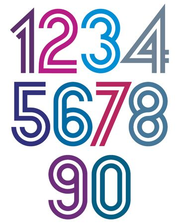 affiche: Bright cartoon double striped numbers with rounded corners.