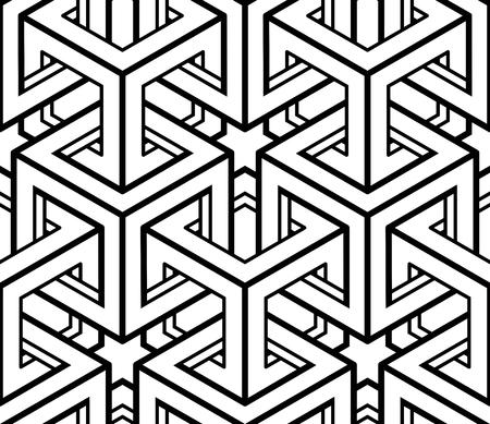 interweave: Monochrome abstract interweave geometric seamless pattern.