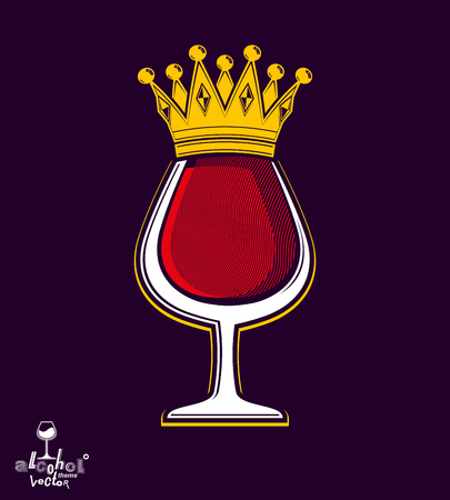 sophisticated: Sophisticated luxury wineglass with golden imperial crown.