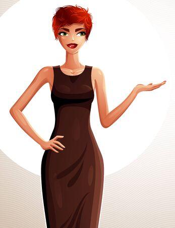 fullbody: Attractive white-skin standing girl vector drawing Illustration