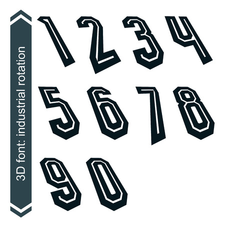 numeration: Outlined rotated vector numeration, monochrome bold lined numbers set.