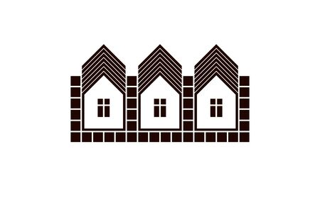 locality: Abstract simple country houses vector illustration