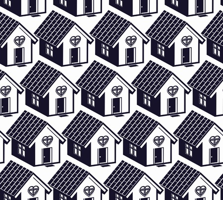 homely: Love and harmony at home conceptual vector background, abstract houses. Real estate theme symmetric seamless pattern.