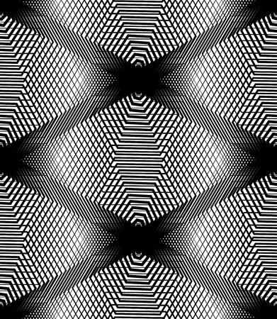 endless: Vector monochrome stripy illusive endless pattern