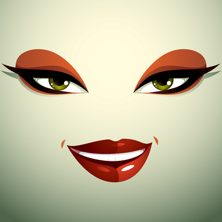 countenance: Face makeup, lips and eyes of an attractive woman displaying happiness. Illustration