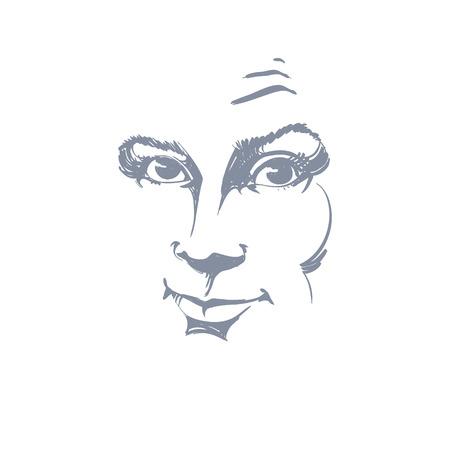 face expressions: Ilustraci�n de piel blanca atractiva dama esc�ptico dise�ada a mano gr�fico vectorial. Las personas se enfrentan a expresiones. Vectores