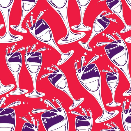 rendezvous: Sophisticated wine goblets continuous vector backdrop, stylish alcohol theme pattern. Classic wineglasses with splatters, romantic rendezvous idea.