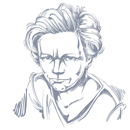 rigorous: Vector art drawing, portrait of angry girl isolated on white. Facial expressions, people negative emotions. Illustration