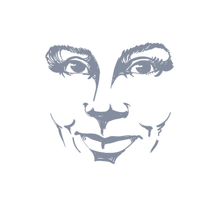 temperamento: La expresi�n facial, dibujado a mano ilustraci�n de la cara de una ni�a sonriente con expresiones emocionales positivas. Hermosas caracter�sticas del rostro de la se�ora.