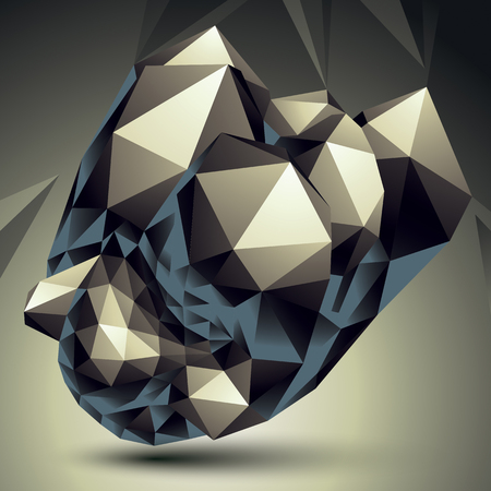 spatial: Vector digital 3d abstraction, geometric polygonal element. Spatial technological contrast shape perspective object.