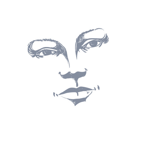 visage: Facial expression, hand-drawn illustration of face of a girl with positive emotional expressions. Beautiful features of lady visage.