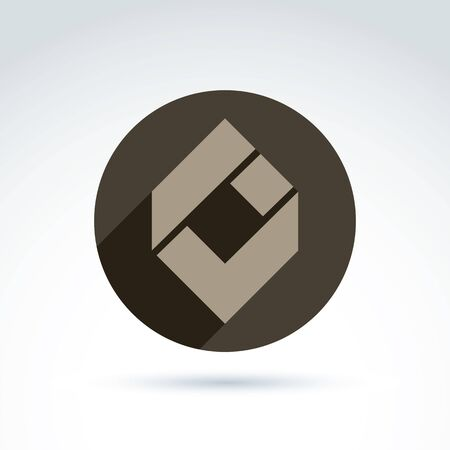 compound: Vector conceptual corporate element. Abstract geometric accept symbol, compound checkmark placed in a circle, design infographics icon.