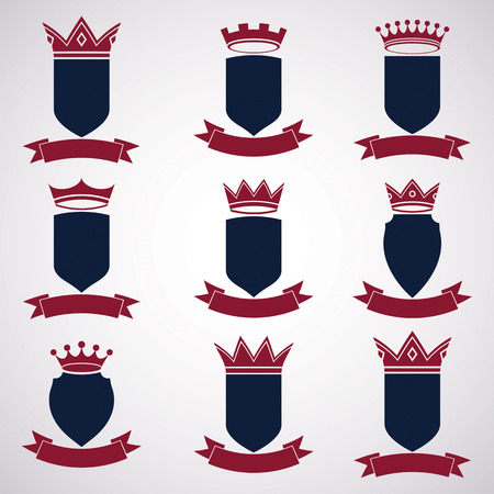 shield sign: Collection of empire design elements.