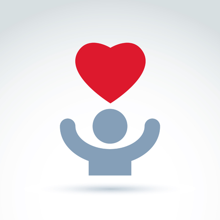 conceptual symbol: Vector charity and donation symbol. Illustration of a red loving heart and a human with hands up. Concept of assistance and volunteer.
