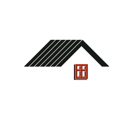 real estate business: Simple architectural construction, house abstract vector symbol, can be used in insurance, real estate business and engineering. Design element.