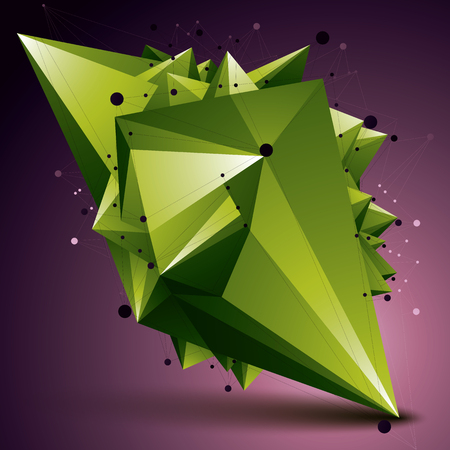 deformed: Abstract 3D structure polygonal network object, green deformed figure. Illustration
