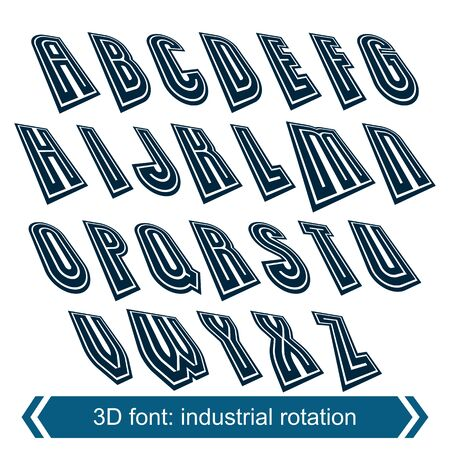 verb: Letras de cambio dimensional con efecto de rotaci�n, proyectos de caracteres geom�tricas creativas. Vectores