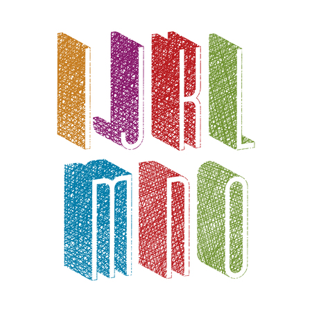 verbs: Retro style 3d thin tall condensed font with hand drawn lines texture, letters i j k l m n o.