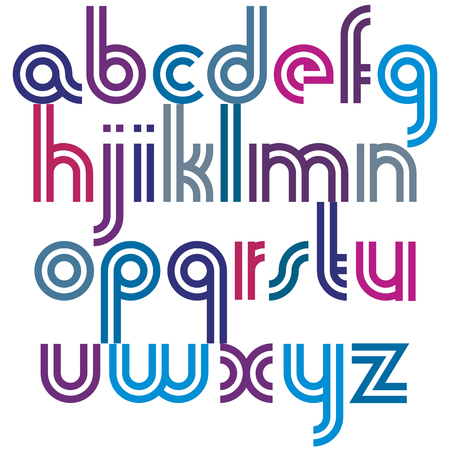 vowel: Bright lowercase letters with rounded corners, animated spherical double striped font. Illustration