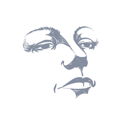 bemused: Black and white illustration of lady face, delicate visage features.