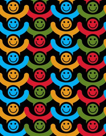 Seamless background with colorful smiley faces. People with positive emotions and holding their hands up continuous vector backdrop.  イラスト・ベクター素材