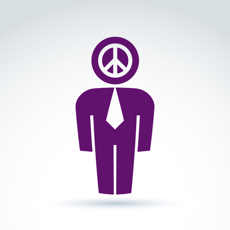 peacemaker: Silhouette of person standing in front - vector illustration of peacemaker.   Illustration