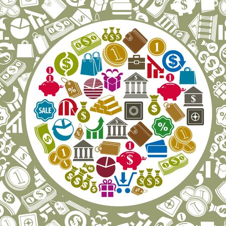 demographics: business and finance icons set Illustration