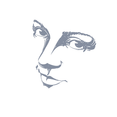 feature: Monochrome silhouette of melancholic  attractive lady, face features. Hand-drawn vector illustration